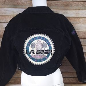 Vtg L.A. Gear jacket denim beaded black cropped M